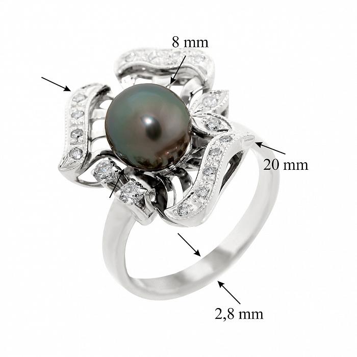 Золотое кольцо Rosie в белом цвете с черным жемчугом и бриллиантами VLA--12459