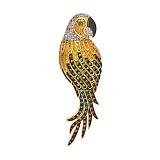 Золотая брошь Королевский попугай с фианитами