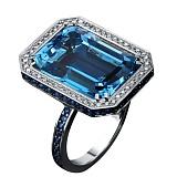 Золотое кольцо с бриллиантами, сапфирами и топазом Виктория