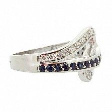 Серебряное кольцо с бриллиантами и сапфирами Танис