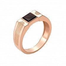 Золотой перстень-печатка Платон в красном цвете с черным ониксом