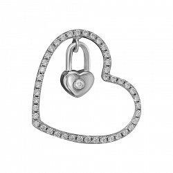 Серебряный кулон Сердце с подвеской-сердечком и фианитами