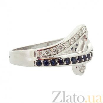 Серебряное кольцо с бриллиантами и сапфирами Танис 000027317