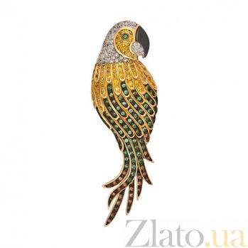 Золотая брошь Королевский попугай с фианитами VLT--ТТ405