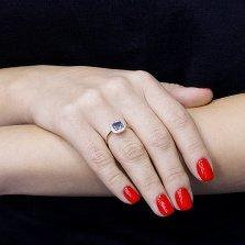 Золотое кольцо Мирабель с синим и белыми фианитами