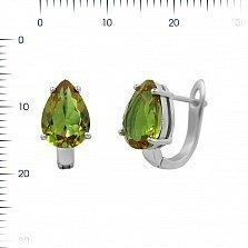 Серебряные серьги Нонна с зеленым корундом