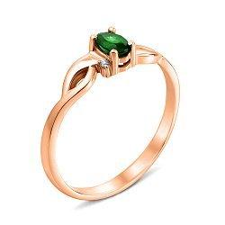 Кольцо из красного золота с изумрудом и бриллиантами 000135385