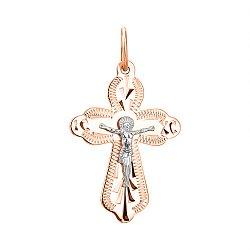 Золотой крестик в комбинированном цвете 000136828