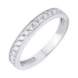 Серебряное кольцо с дорожкой из фианитов 000117745