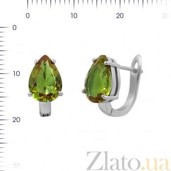 Серебряные серьги Нонна с зеленым корундом 000081928