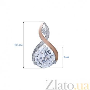 Серебряные серьги с фианитами и вставками золота Джина 000027019