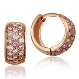 Золотые серьги-кольца Луиза с розовыми и белыми фианитами