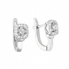 Серебряные серьги Дива с кристаллами циркония