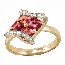 Золотое кольцо Доротея с морганитами и фианитами