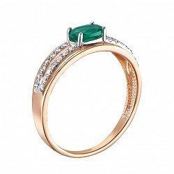 Кольцо из красного золота с зеленым агатом, фианитами и родированием 000134492