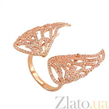 Кольцо Ангельские крылья в красном золоте с цирконием VLT--ТТ1332