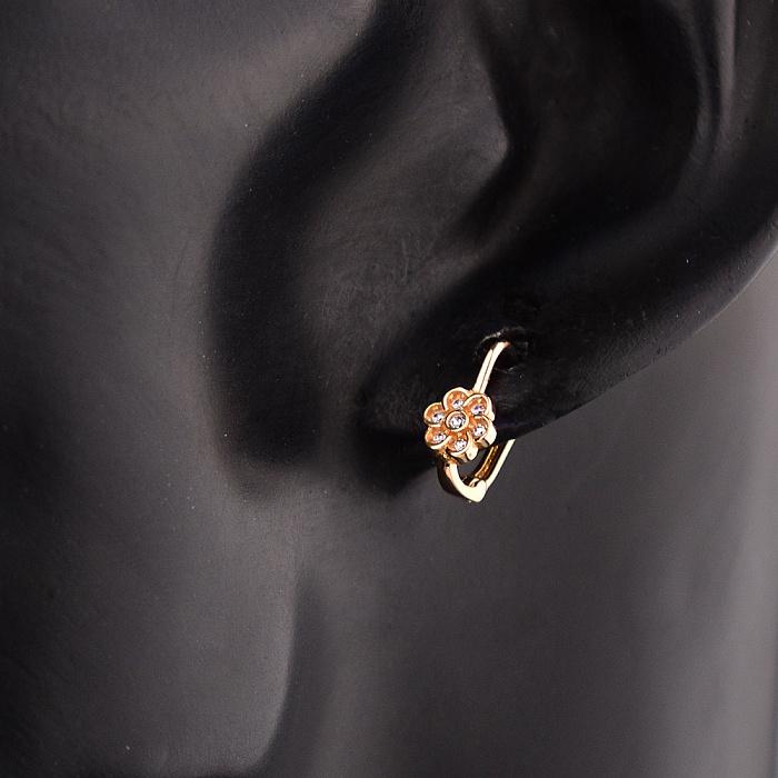 Серьги из красного золота Флори с кристаллами циркония 000079624