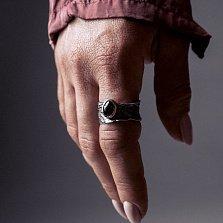 Кольцо из серебра Effectus с золотой вставкой, черным цирконием и чернением
