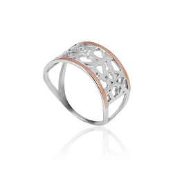Серебряное кольцо с золотой вставкой Любовь
