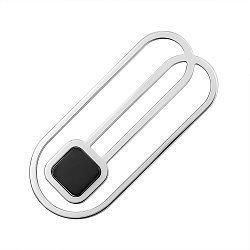 Зажим для галстука из серебра с ониксом 000146407
