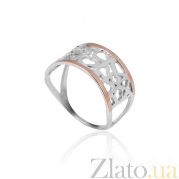 Серебряное кольцо с золотой вставкой Любовь Любовь