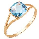 Золотое кольцо Кушон с голубым нанотопазом