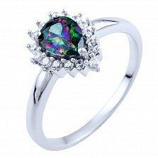 Серебряное кольцо Брижит с топазом мистик и фианитами