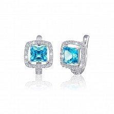 Серебряные серьги Николь с голубыми и прозрачными фианитами