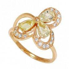 Золотое кольцо Клевер-листок с бериллами и фианитами