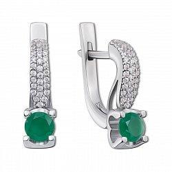 Серебряные серьги Флори с зеленым агатом и фианитами
