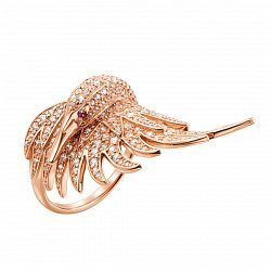 Золотое кольцо Прекрасный лебедь в красном цвете с белыми и красным фианитами