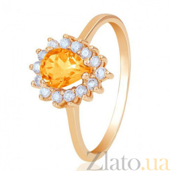 Золотое кольцо Фаина с цитрином и фианитами EDM--КД4033ЦИТРИН