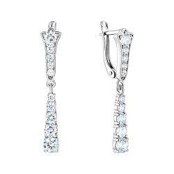 Серебряные серьги-подвески с фианитами 000149986