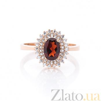 Золотое кольцо Нараядна с гранатом и белыми фианитами  000082347