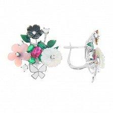 Серебряные серьги Разгар лета с разноцветным перламутром, фианитами и эмалью