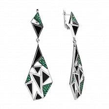 Серебряные серьги-подвески Абстракция с черным агатом и зеленым цирконием