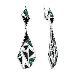 Серебряные серьги-подвески с черным агатом и зеленым цирконием 000096034