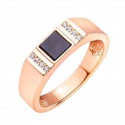 Золотой перстень-печатка с квадратной вставкой черной эмали и фианитами  000117625