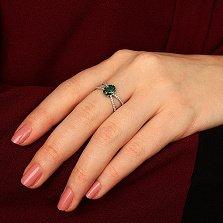 Серебряное кольцо Алиса с зеленым кварцем и фианитами