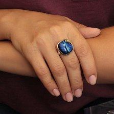 Серебряное кольцо Синий иней с разомкнутой шинкой и имитацией опала