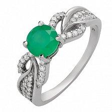 Серебряное кольцо Лавина с зеленым агатом и цирконием