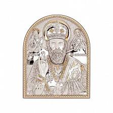 Икона Николай Чудотворец серебряная с позолотой
