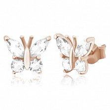 Позолоченные серебряные серьги с цирконием Сверкающие крылышки