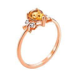 Кольцо из красного золота с цитрином и фианитами 000131290