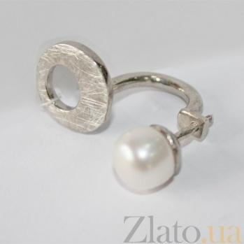 Серебряная серьга с жемчугом Лунное мерцание Б3-Ж