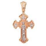 Золотой крестик с белым родием Божественная Любовь