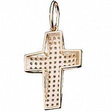 Золотой крест Лучезарный с фианитами