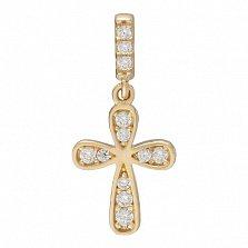 Крестик в желтом золоте Святой оберег с фианитами
