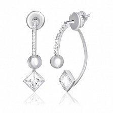 Серебряные серьги с цирконием Лоресса