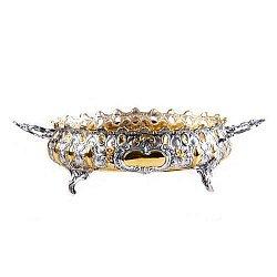 Серебряная конфетница Ажур с позолотой
